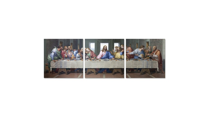 Furinno Senic Last Supper 3 Panel Canvas On Wood Frame 60 X 20 In