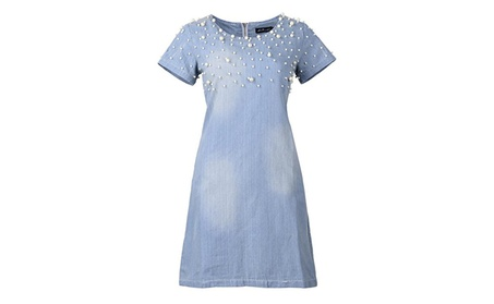 QZUnique Women's Plus-Size Fashion Denim Dress Embellished with Pearls 2a53e451-b348-4ae3-be2f-f3a44003b73f