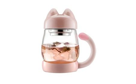 14oz Glass Tea Cup with a Lid & Strainer, Portable Cute Cat Tail 6459e649-a184-4264-b19d-fcb1c78fb4e0