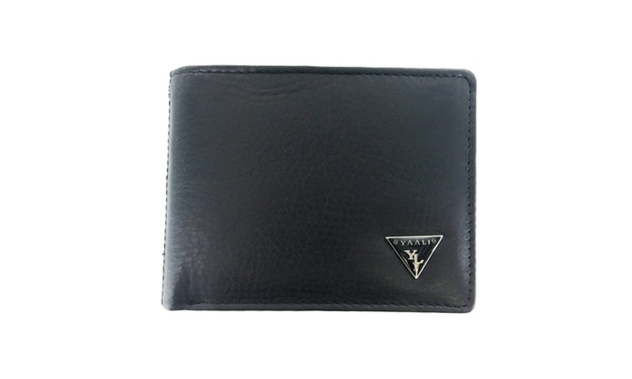 Faddism Mens Leather Flipout ID Wallet Bifold Hybrid