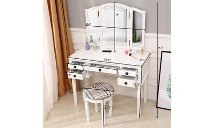 FCH Dresser Three-Fold Square Mirror Drawers Roman Column Table/Stool White
