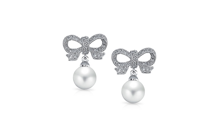112e049d9 CZ Bow Simulated Pearl Bridal Drop Earrings Rhodium Plated Cubic Zirconia  Simulated Pearl Rhodium Plated Brass