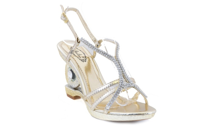 Metallic Gold Jeweled Textured Formal Slide Open-toe Sandal Heels