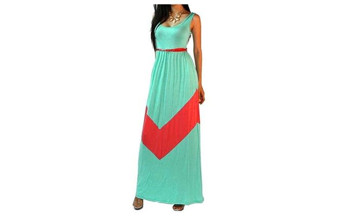 Women Bateau Neck Stripe Full Length Maxi Beach Dress