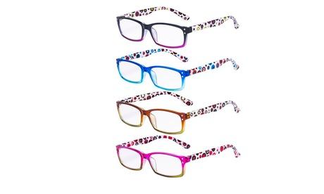 Ladies Reading Glasses 4 Pack Cute Dot Pattern Temples Readers Women
