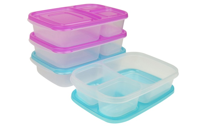 evelots set of 4 bento lunch box containers 3 compartments groupon. Black Bedroom Furniture Sets. Home Design Ideas