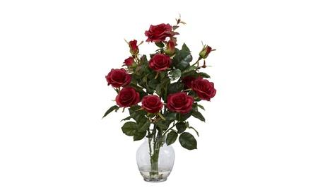 Nearly Natural Rose Bush w/Vase Silk Flower Arrangement Red 2a4a1545-56f1-458f-ae22-97034fbc7f91