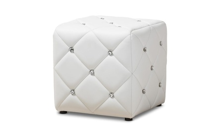 Modern Cube Ottoman with Faux Crystal Buttons