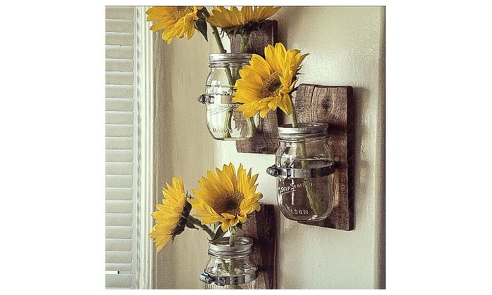 3 Country Style Wall Vases Cottage Chic Mason Jar Hanging Wall Vase