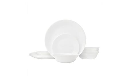 Corelle Livingware 18-Piece Glass Dinnerware Set, Winter Frost White,