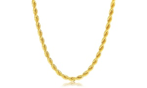 10K Gold 4MM Diamond-Cut Rope Chain Necklace by Moricci