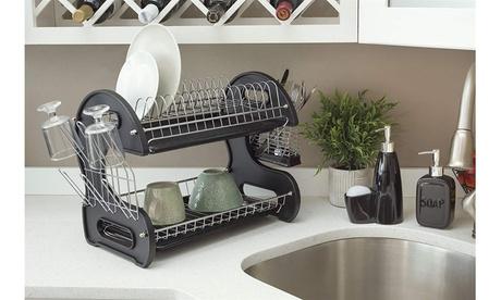 Home Kitchen 2 Tier Stainless Steel Dish Drainer Rack