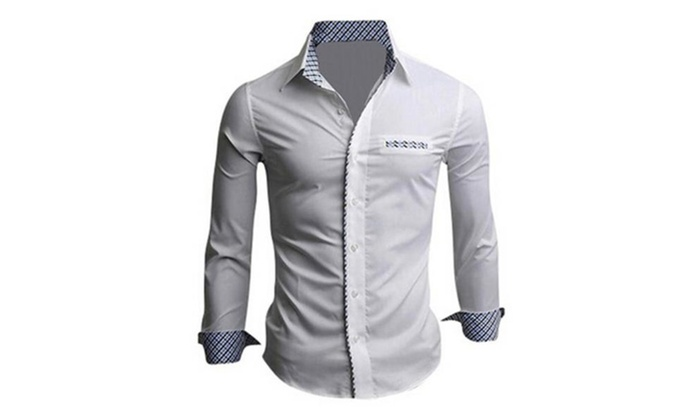 Men's Fashion Slim Fit Clearance Long Sleeve Casual Button Down Shirts
