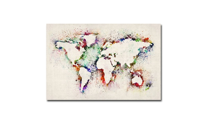 Up to 71 off on michael tompsett world map groupon goods groupon goods michael tompsett world map paint splashes canvas art gumiabroncs Choice Image