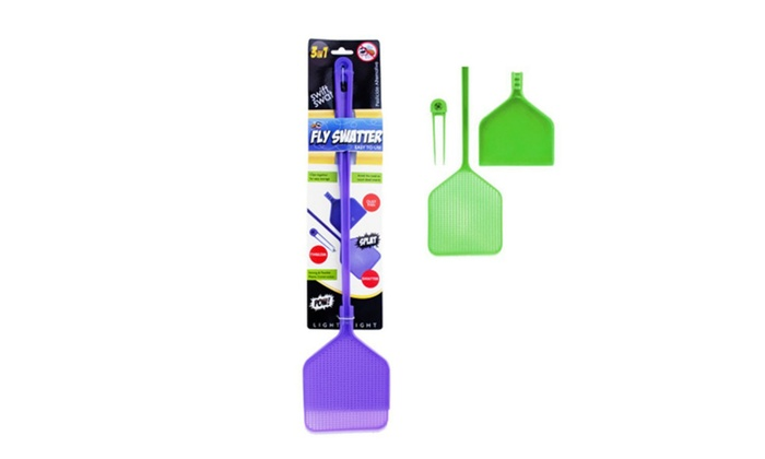 "Three-in-one Fly Swatter, Tweezers and Dustpan, 19.25"" Long, Purple"