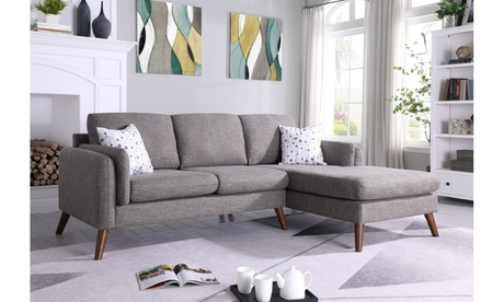 Forio Mid-Century Modern Sectional Sofa Chaise in Cotton Blended Fabric