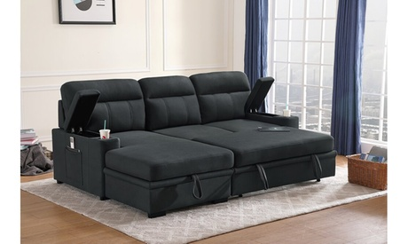 Seia Sleeper Sectional Sofa Chaise with Storage Arms in Polished Microfiber