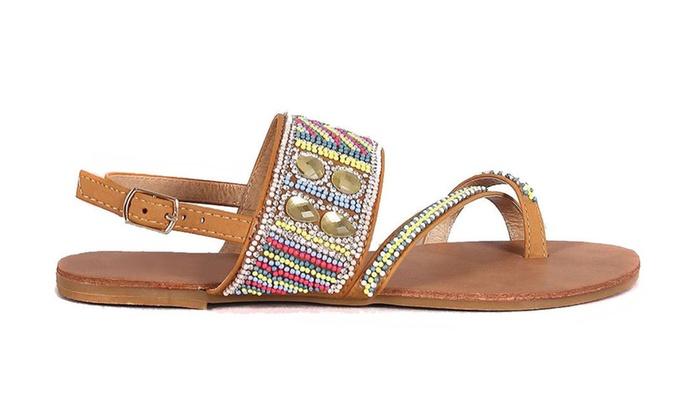 Dazzling Rhinestone Toe Ring Slingback Flat Vegan Leather Sandal