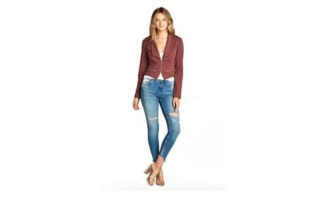 Ladies Fashion Long Sleeve Zip Front Blazer