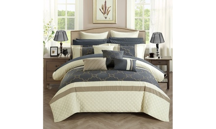 Lorimer Bedroom in a Bag Comforter Set (16-Piece) embroidered and quilted