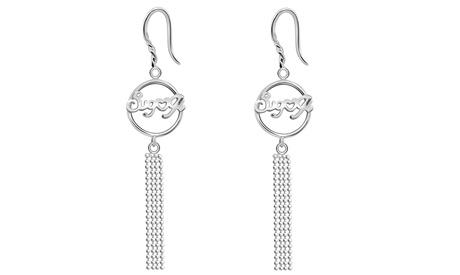 Essence Jewelry 0.925 sterling silver beaded chain dangle earrings