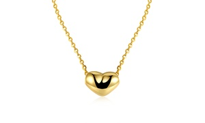 Solid Italian Heart Pendant Set in 14K Gold Plating