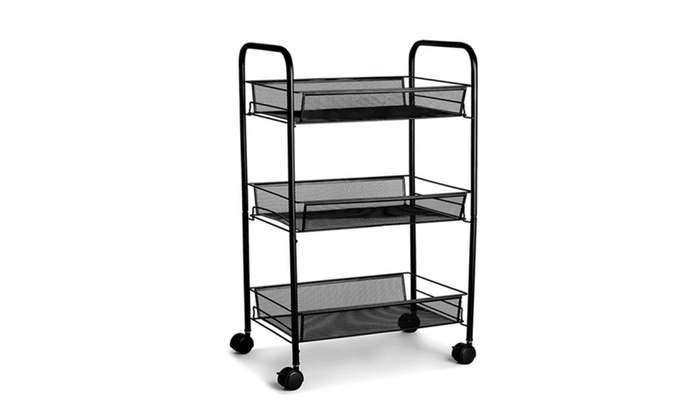 ... 3 Tier Mesh Rolling Storage Cart With Baskets ...