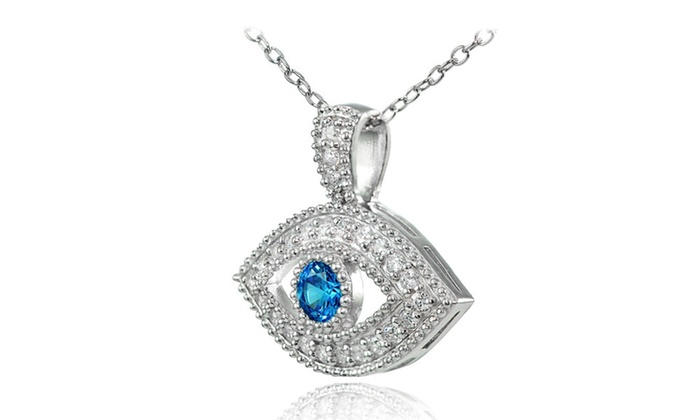 Sterling silver london blue cubic zirconia evil eye for Cubic hotel london
