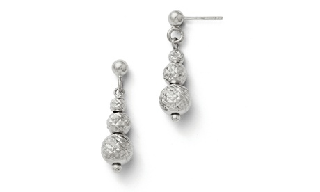 Italian Sterling Silver Diamond Cut Beads Dangle Post Earrings 4ee4466d-4881-4c99-9162-795487308e20