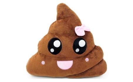"11x12"" Girl Pink Poop Poo Emoji Emoticon Cushion Pillow Brown Stuffed 6015a2d2-3b72-48bd-9882-4fb6f606129e"