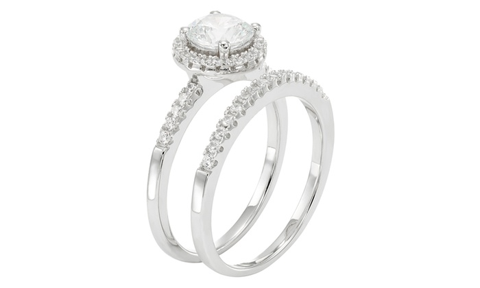 050 CTTW Round Frame Bridal Ring set in Sterling Silver