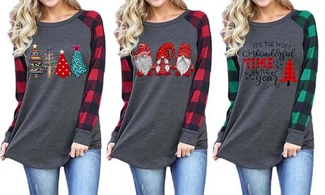 Womens Casual Plaid Long Sleeve Funny Christmas Print Tops Blouse T-Shirts