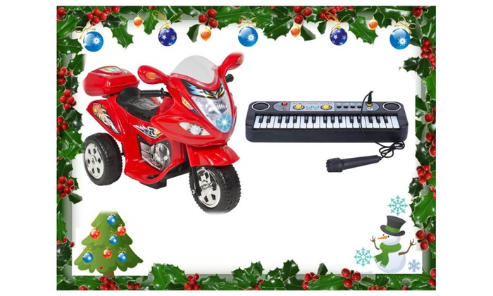 Toy  Kids Ride On Motorcycle & Toy Piano Electrical Keyboard Gift