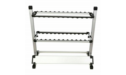 Aluminum Alloy 24 Rods Rack Fishing Rod Pole Holder Stand Storage Portable