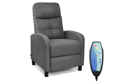 Costway Massage Fabric Recliner Chair Single Sofa Home Theater Seating