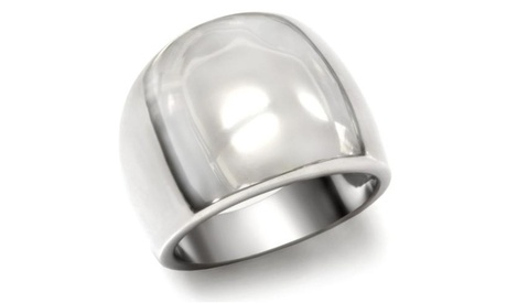 Womens High Polished Stainless Steel Classic Tapered Band Fashion Ring