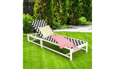 Costway Patio Lounge Chair Chaise Adjustable Reclining Chair Garden Deck Wheel