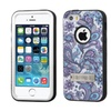 Insten Verge Flowers Dual Silicone Case Stand For Iphone Se/5s Purple