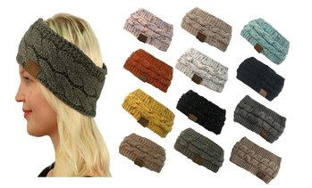 New CC Winter Fuzzy Fleece Lined Thick Knitted Headband Headwrap Earwarmer