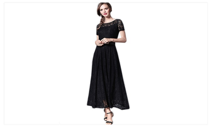 88487faf3e337 Women Hollow Lace Round Neck Long Party Dress - JPWD884-JPWD885 ...