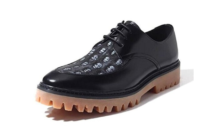 Men's Fashion Skull Lace up Oxford Platform Shoes