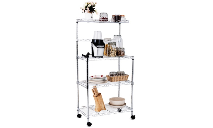 4-Tier Microwave Stand Oven Baker Rack Shelves Kitchen Cart Storage Workstation