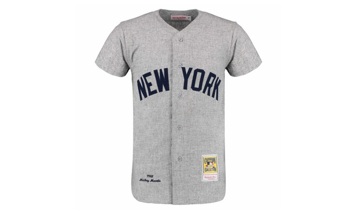 f392c7a9e Mens New York Yankees Mickey Mantle Gray Throwback 1961 Jersey