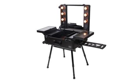 Rolling Studio Makeup Case w/Light Mirror Black Organizer Cosmetic 224c300a-cfe2-4f6e-a5dd-e9224480020b
