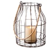 Large Rusted Wire Pillar Lantern with Jute Handle