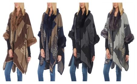 Women Faux Fur-Trim Abstract Wool Winter Scarf Shawl Wrap Cape Poncho
