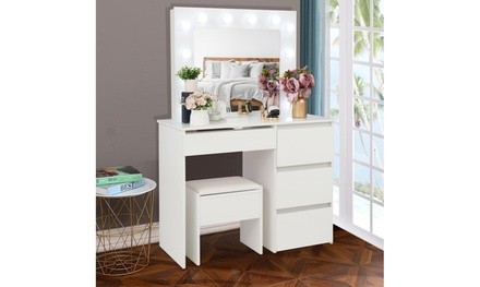 Ktaxon Vanity Table Set with Lighted Mirror, Makeup Table, Dressing Tables