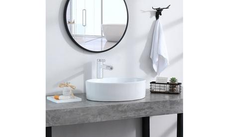 Bathroom Above Counter Oval Porcelain Ceramic Vessel Vanity Sink Art Basi