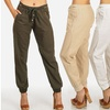 Women's Linen Drawstring Pants with Zipper Pockets