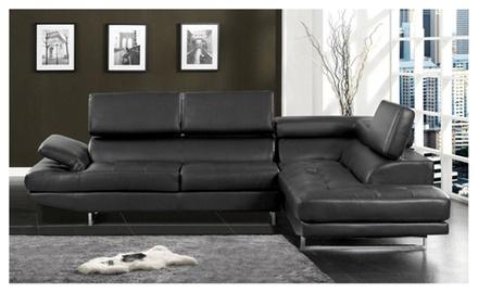 Vetovo sectional sofa upholstered in bonded leather groupon for Sectional sofa groupon